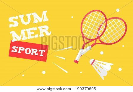 Summer sport banner with badminton rackets and shuttlecock. Flat style. Vector background.