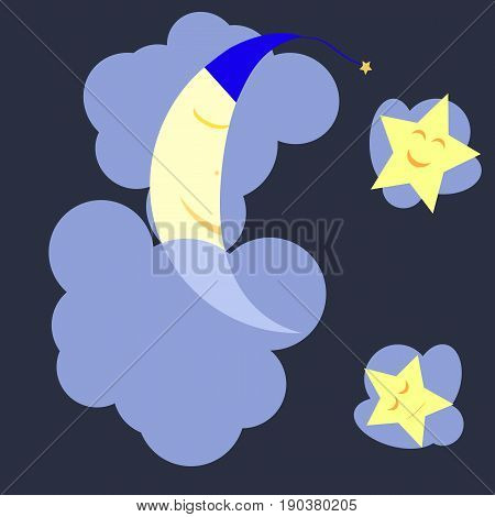 Sleeping moon and stars in the dark blue midnight sky. The moon lies on a cloud covered by another cloud the stars just rest on the clouds. Can be used as an illustration background or wallpaper.