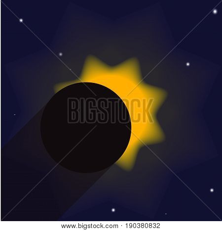 Illustration showing a partial eclipse of the sun with shadow. The moon does not fully cover the sun so its part is visible as well as the blue sky and stars.