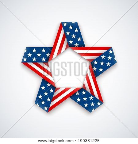 Star made of double ribbon with american flag Stars and stripes. Vector illustration for USA national holidays.