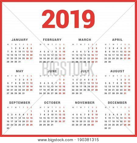 Calendar For 2019 Year On White Background. Week Starts Monday. Simple Vector Template. Stationery D