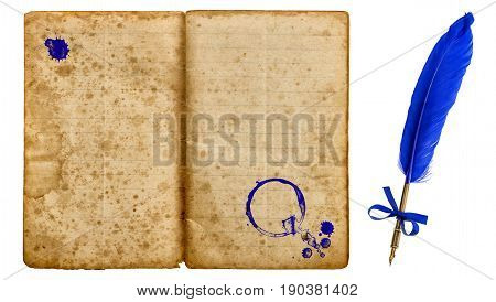Old school exercise book with ink pen isolated on white background. Aged paper texture