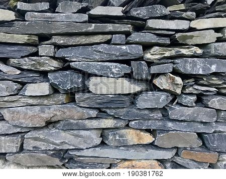 Slate Dry Stone wall background
