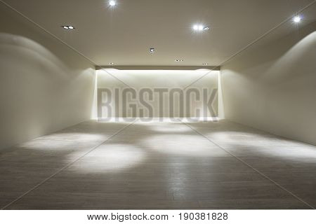 Living room with empty walls for your air conditioner or frames and TV stand