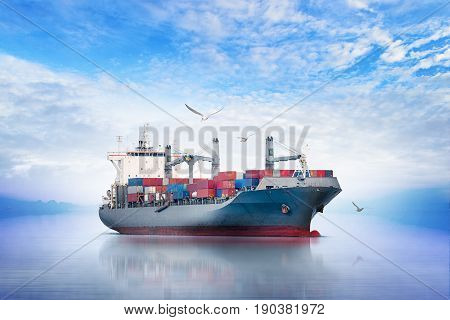 International Container Cargo ship in the ocean with Group of Birds Freight Transportation Shipping