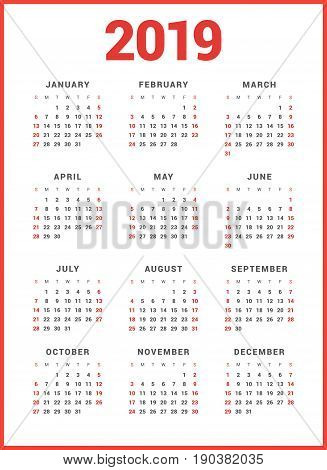 Calendar For 2019 Year On White Background. Week Starts Sunday. Simple Vector Template. Stationery D