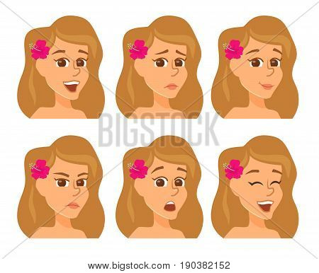 Summer avatars with expression. Woman face with differnt emotions and mood. Cartoon female cheracter joy, laughter, sorrow, sadness, anger, surprise, shock