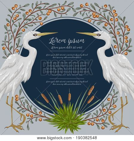 Heron bird and and swamp plants. Marsh flora and fauna. Design for banner, poster, card, invitation and scrapbook. Botanical vector illustration in watercolor style