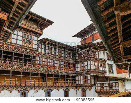 Inner View Of Trongsa Dzong, One Of The Oldest Dzongs In Bumthang, Bhutan.
