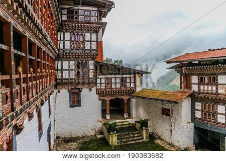 Inner View Of Trongsa Dzong, One Of The Oldest Dzongs In Bumthang, Bhutan