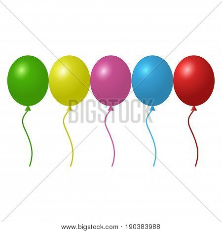 Set of colorful helium balloons, vector illustration