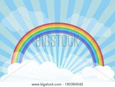 Rainbow across vast skies. Rainbow, sky, sun rays and clouds