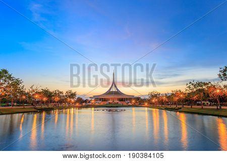 Bangkok, Thailand. - May 14, 2017 : Night time at Ratchamangkhala Pavilion at public park name Suan Luang Rama IX on sunset time Bangkok, Thailand.