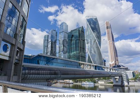 MOSCOW - JUNE 08, 2017: Wide-angle lens view of Moscow-City skyscrapers. Moscow-City Moscow International Business Center is a modern commercial buildings with a futuristic design in downtown.