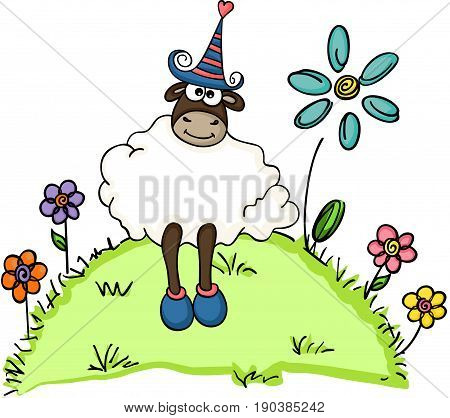 Scalable vectorial image representing a cute sheep in a garden, isolated on white.