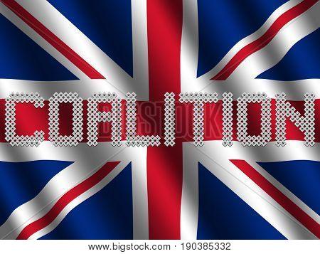 Coalition text of votes on rippled British flag illustration