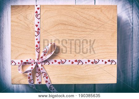 Wooden Box Wrapped With Ribbon