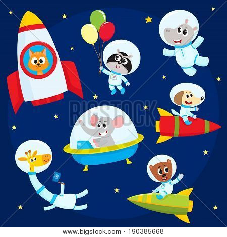 Cute little animal astronauts, spacemen flying in rocket, space suits, ufo, cartoon vector illustration isolated on a white background. Little baby animal astronauts, spacemen flying in open space