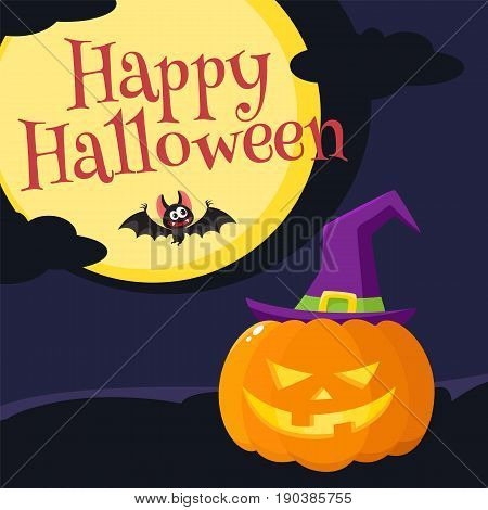 Happy Halloween greeting card, poster, banner design with orange pumpkin in pointed witch hat, bat, moon and dark night, cartoon vector illustration. Halloween greeting cardwith orange pumpkin