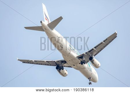 Bangkok, Thailand. - April 22, 2017 : Plane or aircraft of Thai Airways or Airlines on the sky landing to Suvanabhumi airport.