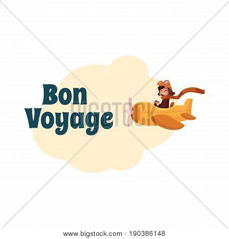 Bon Voyage postcard, banner, poster design with little boy in pilot helmet and goggles flying in retro airplane, cartoon vector illustration isolated on white background.