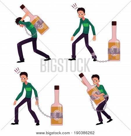 Young man chained to bottle of liquor, booze, carrying it, holding tight, alcohol dependence concept, set of cartoon vector illustrations isolated on white background. Man chained to alcohol bottle