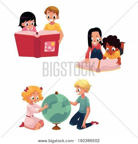 Kids, children reading, studying, learning together, cartoon vector illustration isolated on white background. Kids, children, boys and girls, reading book, studying globe, learning together