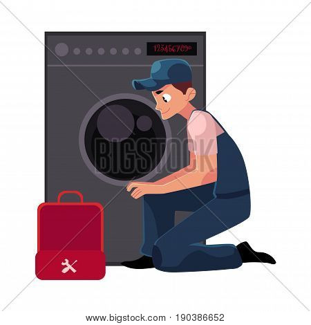 Plumbing specialist with toolbox fixing, repairing washer, washing machine, cartoon vector illustration isolated on white background. Plumber, plumbing specialist fixing, repairing washing machine