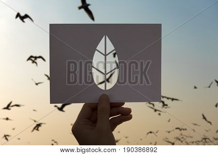 Save the world ecology environmental conservation perforated paper leaf