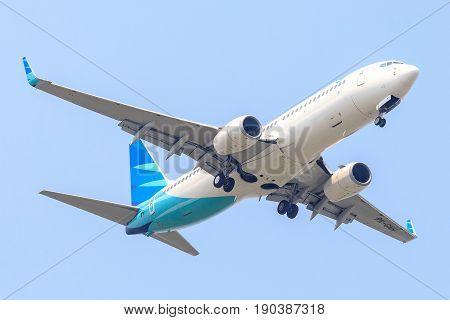 Bangkok, Thailand. - April 22, 2017 : Aircraft or Plane of Garuda Indonesia Airways on the sky landing to Suvanabhumi airport.