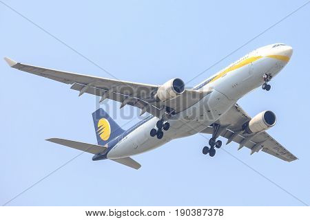 Bangkok, Thailand. - April 22, 2017 : Aircraft or Plane of Jet Airways or Airlines on the sky landing to Suvanabhumi airport.