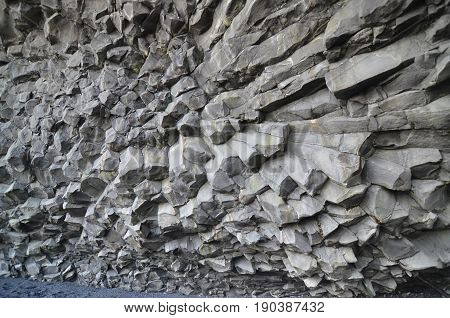 Up close with Iceland's basalt column rock formations.