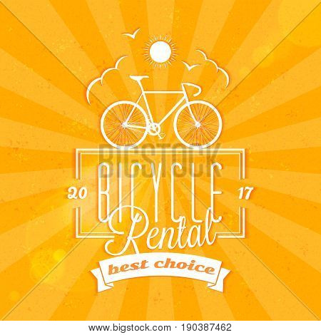 Bycicle rental summer badge. Typographic retro style label with textured background. Rental agency concept travel illustration
