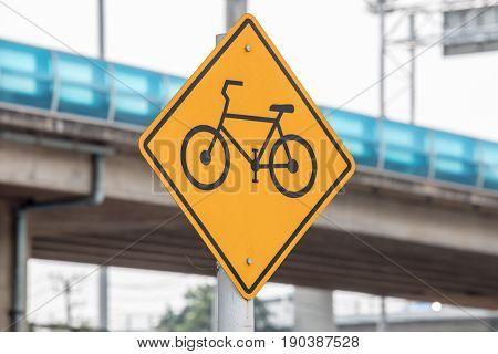 Bike or bicycle lane sign at street or road in the city or town.