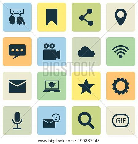 Internet Icons Set. Collection Of Camcorder, Wireless Connection, Laptop And Other Elements. Also Includes Symbols Such As Star, Seek, Conversation.