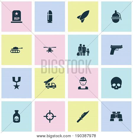 Warfare Icons Set. Collection Of Chopper, Cutter, Weapons And Other Elements. Also Includes Symbols Such As Rockets, Danger, Skull.