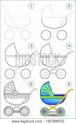 Page shows how to learn step by step to draw a baby carriage. Developing children skills for drawing and coloring. Vector image.