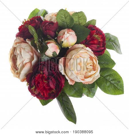 Floral Composition With Red And Rose Roses