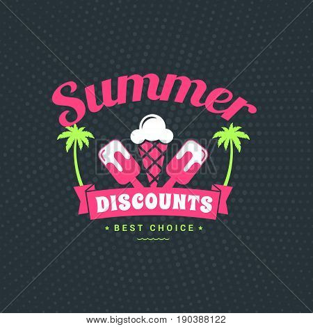 Summer sale banner. Typographic retro style summer poster with dark abstract background. Summer discounts and special offers. Vector illustration