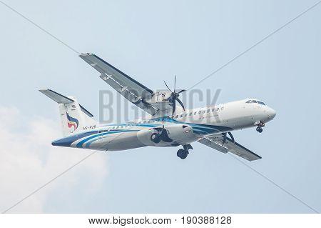 Bangkok, Thailand. - April 23, 2017 : Plane or Propeller aircraft of Bangkok Airways on the sky landing to Suvanabhumi airport.