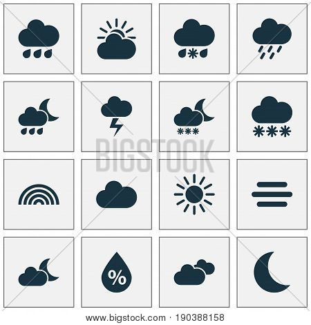 Climate Icons Set. Collection Of Colors, Weather, Moonlight And Other Elements. Also Includes Symbols Such As Snow, Outbreak, Sleet.