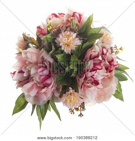 Floral Composition With Bicolored Peonies