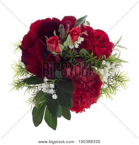 Floral Composition With Red Peonies And Roses