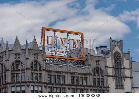 RUSSIA MOSCOW JUNE 8 2017: TSUM luxury shopping mall in Moscow city historic center. Famous historical building