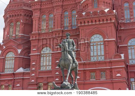 Russia, Moscow, June 8, 2017: A Monument To The Marshal Of The Soviet Union Georgy Zhukov In Front O