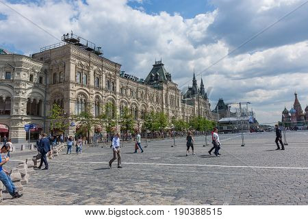 RUSSIA MOSCOW JUNE 8 2017: Undefined people walk on the Red Square in Moscow