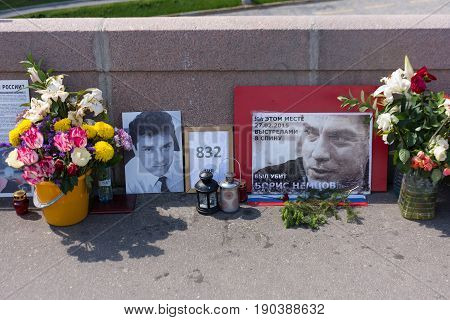 RUSSIA MOSCOW JUNE 8 2017: Memorial to Boris Nemtsov on Bolshoy Moskvoretsky Bridge. Politician was assassinated here on February 27 2015