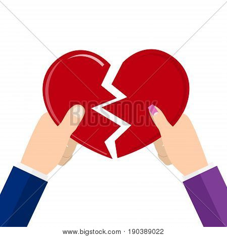 Man and female holding two halves of broken heart. Breakup heart concept. Unhappy love conflict. vector illustration in flat style