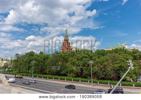 RUSSIA MOSCOW JUNE 8 2017: Moscow Kremlin. Blue sky background