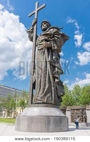 Russia, Moscow, June 8, 2017: Monument To Prince Vladimir On Borovitskaya Square Near Kremlin